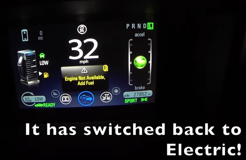 What happens to a Chevy Volt when it runs out of electricity AND ...